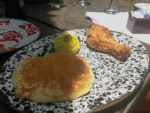 Buttermilk Pancakes with Fried Chicken at A-Frame