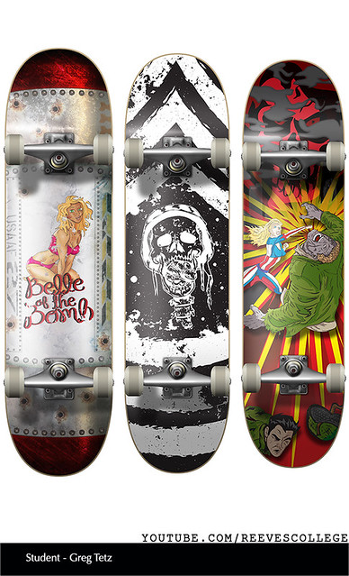Skateboard Deck Design Adobe Illustrator CS6 by Reeves College Student Greg T