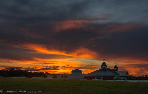 sunset sky clouds barn landscape evening farm maine july 2013