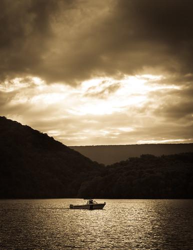 sunset lake mountains canon reflections landscape boat pa raystownlake pennsylvaniastatepark 60d