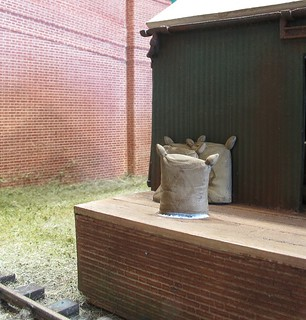 Sacks outside shed