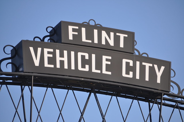 flint vehicle city arches in downtown flint during back to