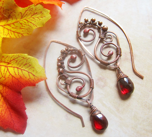Proserpina Descending Garnet Earrings