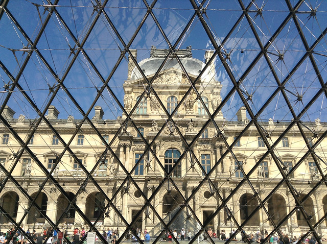 View of Napoleon's apartments from inside The Louvre pyramid