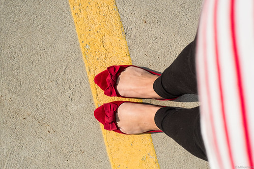 Ardene Red bow tie flats