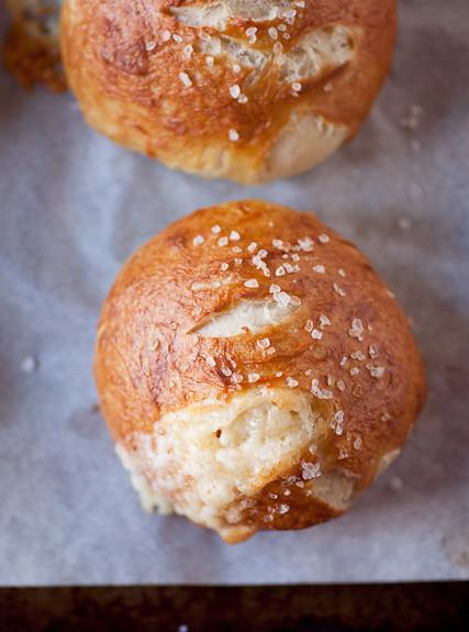 Cheddar-Filled Soft Pretzel Rolls