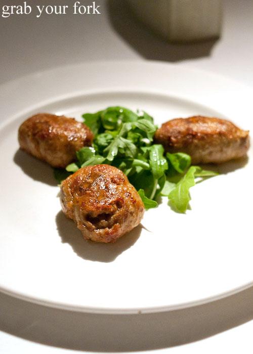 Fagottini pork and veal sausage at Buon Ricordo, Paddington