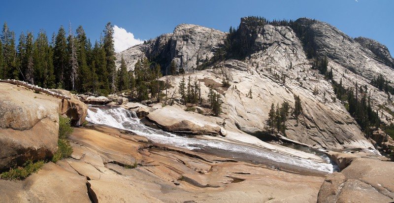 Water flowing down toward the final plunge into California Falls on the Tuolumne River