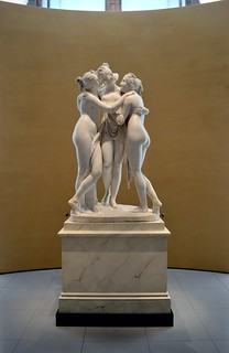 Antonio Canova (1757-1822) - The Three Graces, Woburn Abbey version (1814-1817) front wide view, Victoria and Albert Museum, April 2013