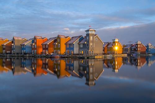 morning reflection netherlands sunrise colorful harbour nederland groningen reitdiep reflectie zonsopkomst reitdiephaven