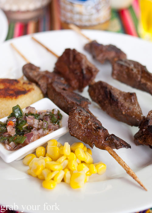 Antichuchos ox heart skewers with potatoes, corn and huacatay chilli