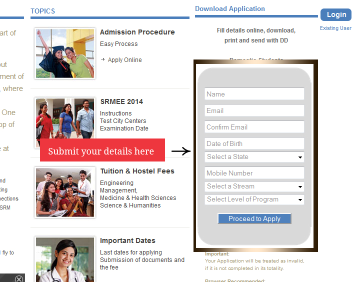 SRMEE 2014 Application Form   Instruction and apply online   news  Image