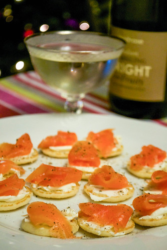 smoked salmon canapes with waitrose sparkling bright and fruity wine