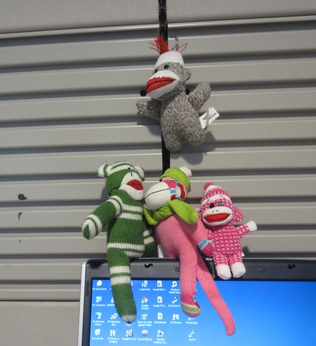Sock Monkeys enjoy the business center