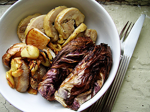 baked chicken and roasted radicchio, turnips, and garlic