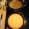 What to eat on a night like tonight? Venison vegetable soup and cornbread baby!