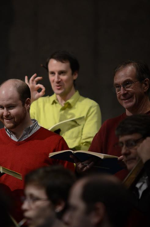 """I tell Music Director Jeffrey Thomas """"can do"""" at a rehearsal of American Bach Soloists – and yes, that's ACFEA North America Managing Director Hugh Davies in the choir with me!"""