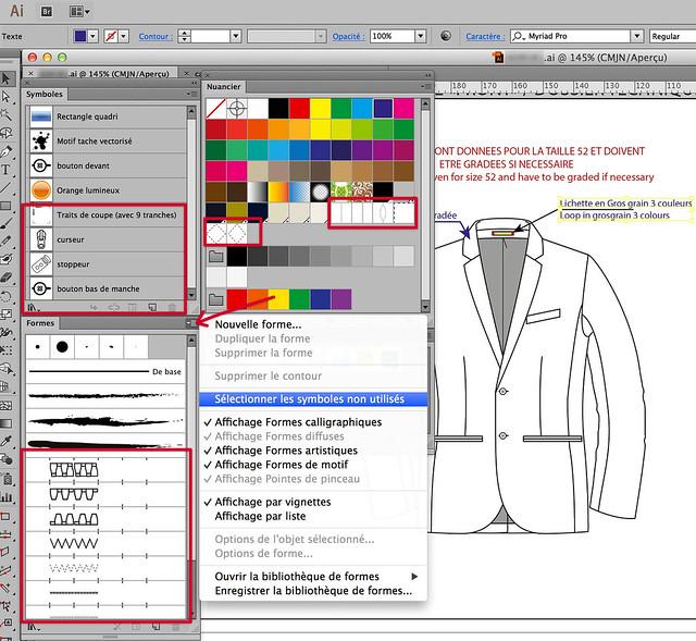 Les palettes spécifiques à un document Illustrator à savoir: nuancier, styles, formes et symboles