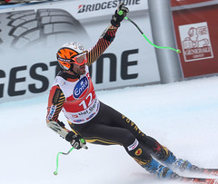 Jan celebrates a solid Super-G run in Val Gardena, ITA
