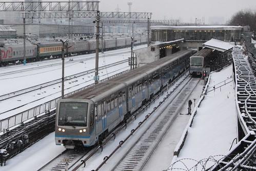 Moscow Metro train departs Студенческая (Studencheskaya) station