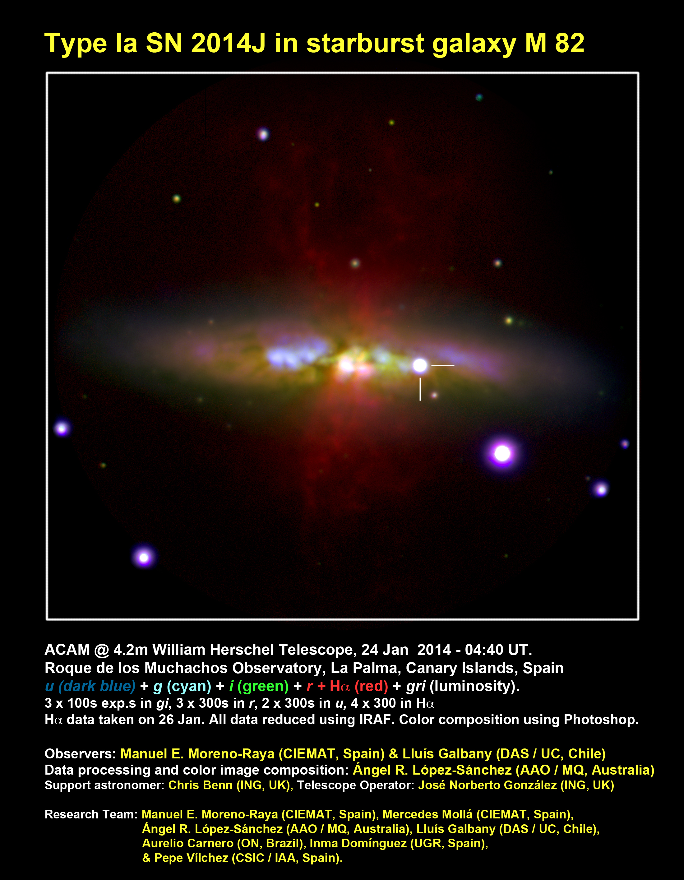 Sn2014j In M82 Observed At The William Herschel Telescope