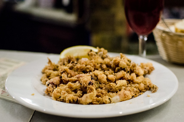 A tapa of fried squid and calamari is definitely suitable for sharing at Las Teresas in Sevilla, Spain.