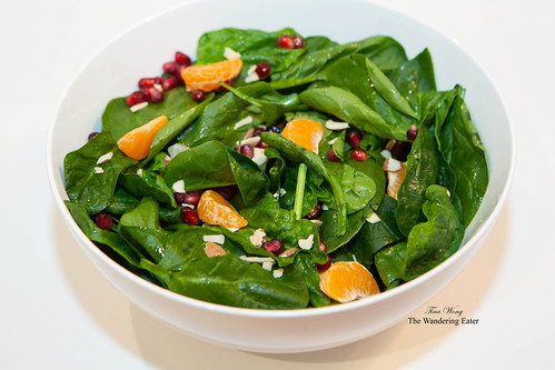 Spinach salad with pomegranate arils and mandarin oranges