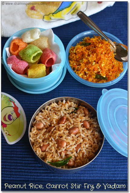 Peanut Rice Carrot Stir Fry And Vadam Todays Menu Is A South Indian Lunchbox