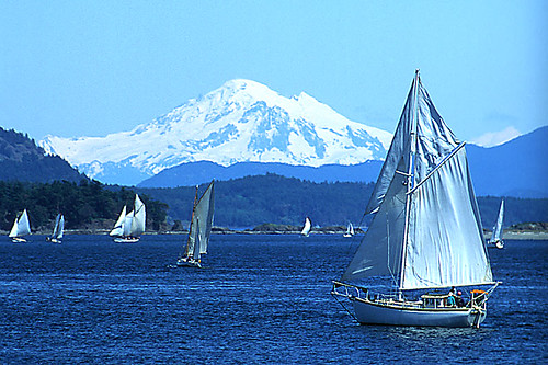 Sailing with Mount Baker in the background, Vancouver Island, British Columbia