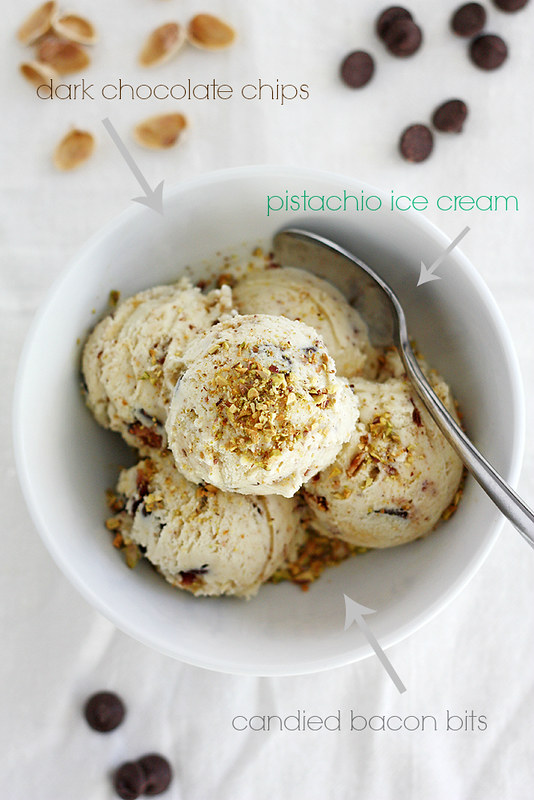 dark chocolate pistachio ice cream with candied bacon bits