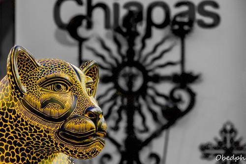 Jaguar de Barro. Expo Chiapas en Puebla. México.