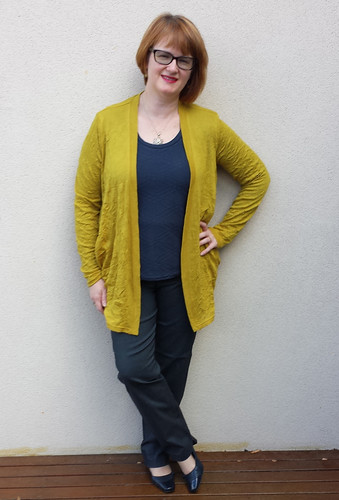 Style Arc Simone cardigan and Barb pants with Plantain tee