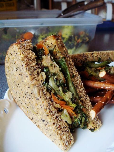Kale Salmon Sandwich in Peanut Sauce