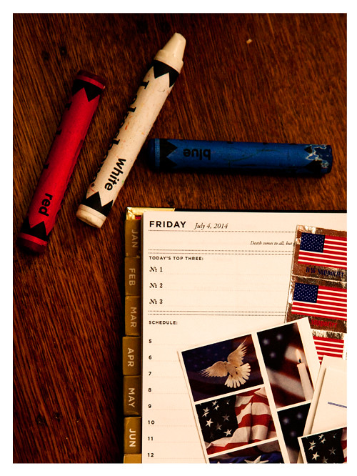 Red White Blue Crayons with The Day Designer