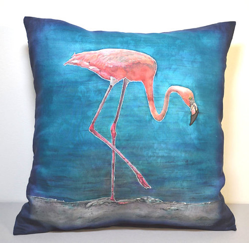 silk flamongo cushion