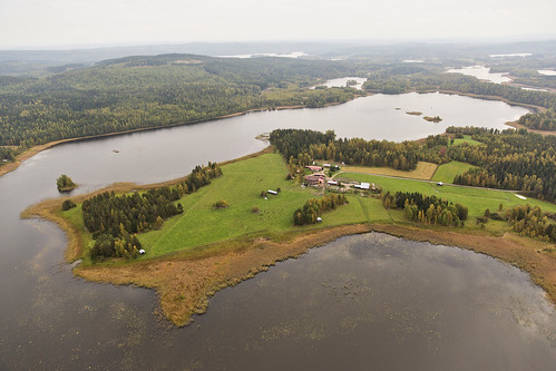 helicopter drone sky lake finland countryside farm island lakes water