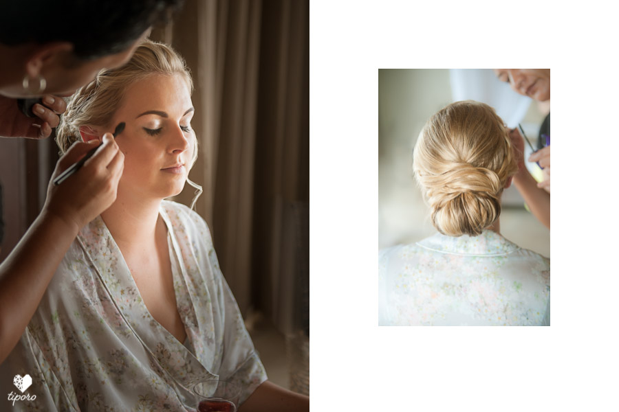 unicorn floaty, yellow bridesmaids dresses, tropical wedding, buntingtropical wedding hairstyle, makeup