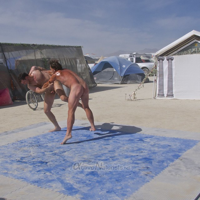naturist wrestling camp Gymnasium 0014 Burning Man, Black Rock City, NV, USA