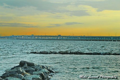 bridge sunset water rock stone river angle wide choptank mygearandme
