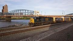 CSX train crossing under the Smithfield Bridge in Pittsburgh