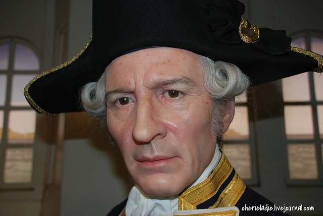 Close up shot of Captain Cook's wax figure