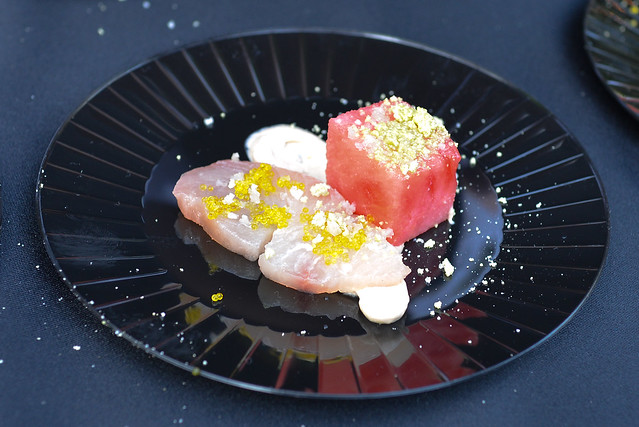 Lexington Social House yellowtail tuna, compressed watermelon, yuzu tobiko, candied wasabi, ponzu creme fraiche
