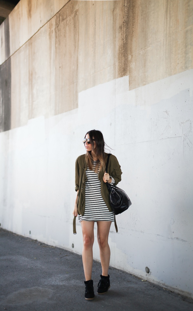Modern Legacy fashion style blog Australia Isabel Marant khaki jacket Ulyse Bassike stripe dress Wang Jamie tote bag wedge sneakers Celine Audrey (4 of 12)