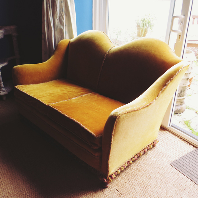 antique vintage mustard sofa