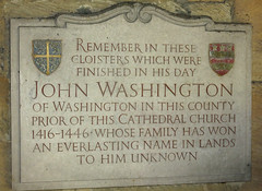 Photo of John Washington marble plaque