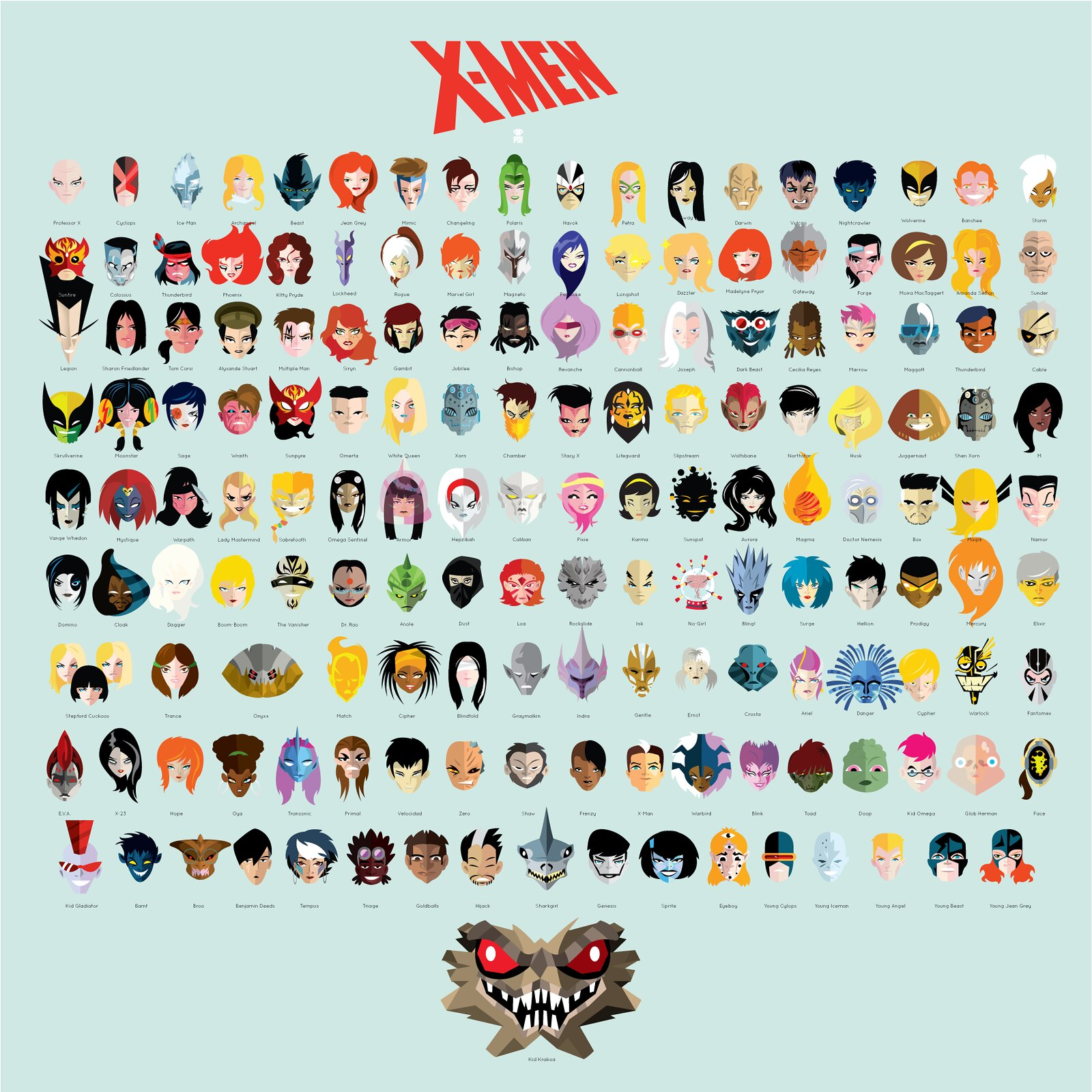 Stylized Illustration Featuring the Faces of X-Men ... X Men Girl Characters Names