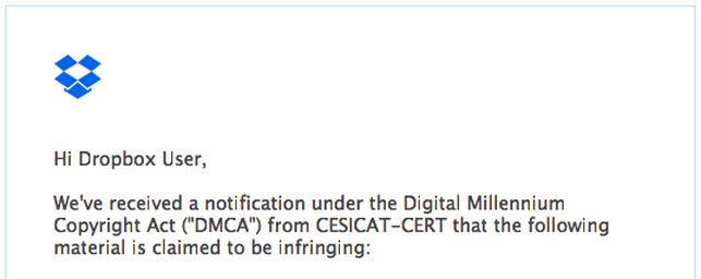 Fragment comunicat de Dropbox envers petició drets autor CESICAT