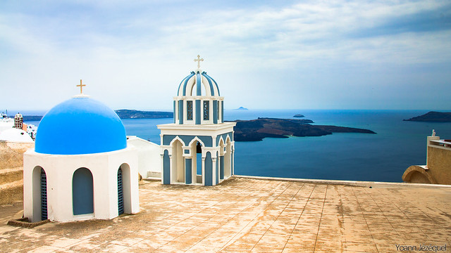 santorini greece blue domes church