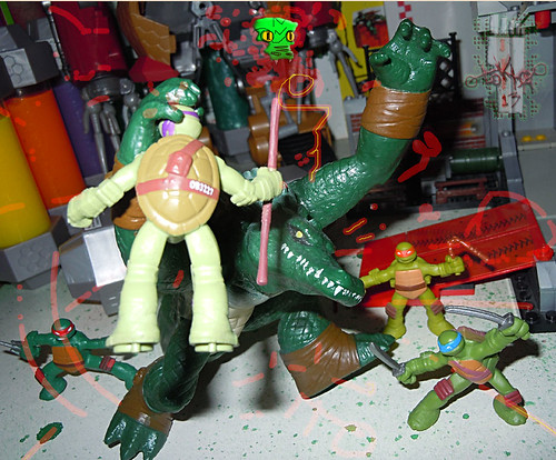 Nickelodeon TEENAGE MUTANT NINJA TURTLES :: MINI TURTLE FIGURE 4-PACK xx // .. vs. LEATHERHEAD (( 2014 ))
