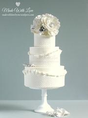 White Poppies and Frills Cake